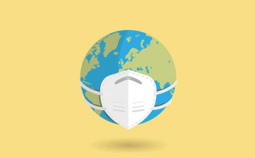 Graphic of world wearing a face mask
