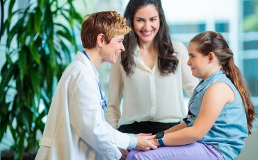 nurse, child, and parent
